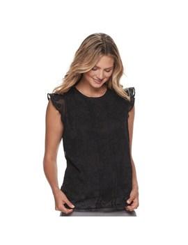 Women's Elle™ Pleat Front Flutter Sleeve Top by Elle