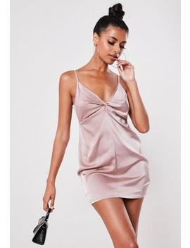 Petite Blush Satin Knot Front Mini Dress by Missguided