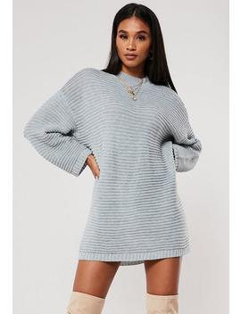 Petite Grey Ribbed High Neck Jumper Dress by Missguided