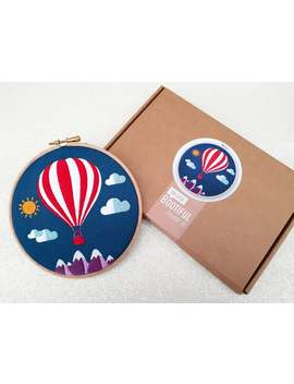 Hot Air Ballon Embroidery Kit, Mountains Embroidery Kit, Sky Needlecraft Kit, Hand Embroidery Kit, Modern Needlework Kit, Hoop Art Kit by Etsy