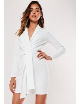 Petite White Knitted Belted Blazer Dress by Missguided