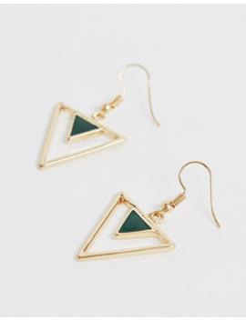Glamorous   Exclusivité   Pendants D'oreilles Triangulaires En émail   Doré by Glamorous