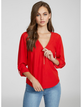Madeline Zip Front Top by G By Guess