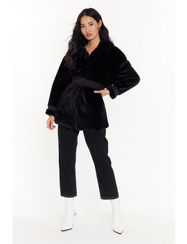 Belted Faux Fur Jacket by Nasty Gal