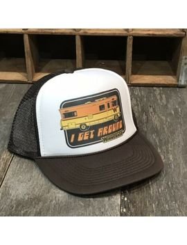 I Get Around Winnebago Trucker Hat Vintage 80s Camping Party Snapback Cap Brown by Unspecified