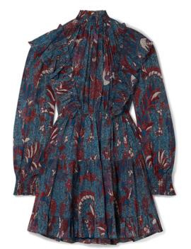Vienne Ruffled Printed Cotton Blend Crepon Mini Dress by Ulla Johnson