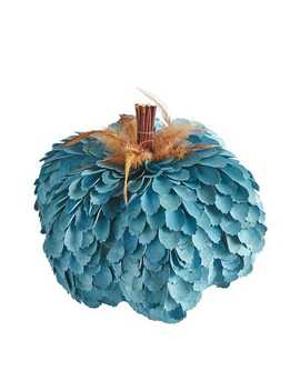 Blue Wood Curl Pumpkin With Feathers by Pier1 Imports