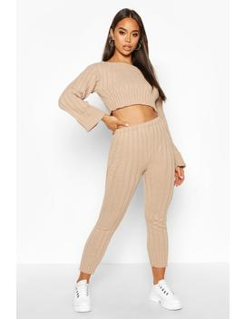 Cropped Rib Knit Set by Boohoo