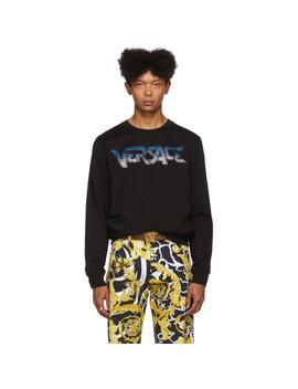 Black Rhinestone Logo Sweatshirt by Versace