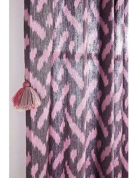Tia Ikat Tasselled Embroidered Velvet Curtain by Anthropologie