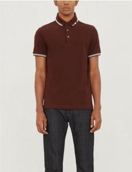 Logo Embroidered Stretch Cotton Polo Shirt by Emporio Armani