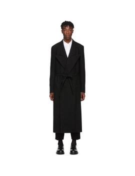 Black Wool Felt Round Hole Coat by Comme Des GarÇons Homme Plus
