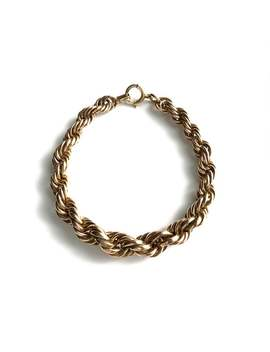 Rope Chain Bracelet 12 K Gold Vintage Jewelry   Rose Gold Filled Link Binder Bros Nautical Style by Etsy