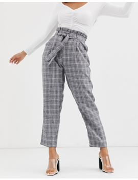 Missguided Petite Paperbag Waist Tailored Trouser In Grey Check by Missguided's