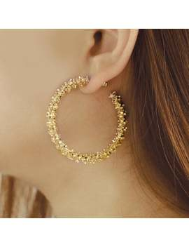 Gold Hoops Earrings, Textured Hoops Earrings, Sparkly Earrings, Large Hoops Earrings, Sprinkle Earrings, Gold Statement Earrings by Etsy