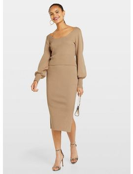 Camel Midi Knitted Skirt by Miss Selfridge