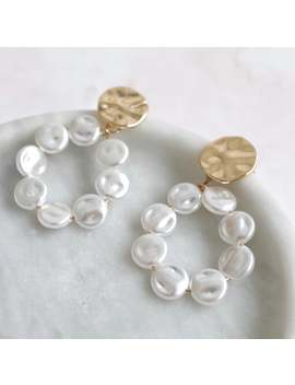 Luxe Collection | Gold Statement Earrings With Pearls #3 by Etsy