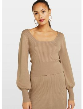 Camel Square Neck Jumper by Miss Selfridge