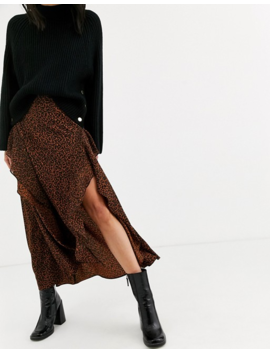 Topshop Midaxi Skirt In Brown by Topshop
