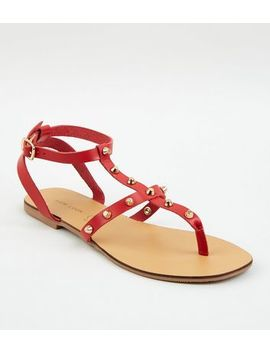 Red Leather Stud Strap Sandals by New Look