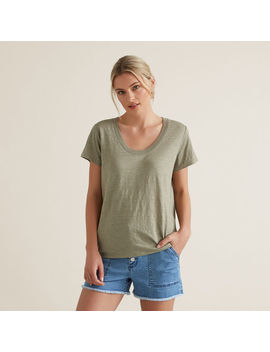 Linen Scoop Neck Tee by Seed Heritage