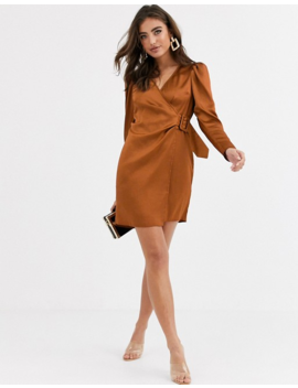 Asos Design Satin Wrap Mini Dress With Buckle by Asos Design