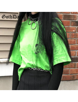 Goth Dark Neon Loose Grunge Gothic Letter Cartoon Print T Shirts Fashion Harajuku Streetwear T Shirt Summer 2019 Casual T Shirt by Ali Express.Com
