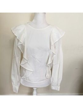 Sincerely Jules Woman White Blouse Flowy Top Size S Ruffle Career Shirt by Blouse