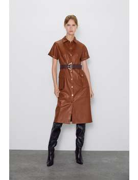 Faux Leather Dress Shirt Dresses Dresses Woman by Zara