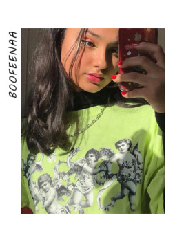 Boofeenaa Angel Print Lime Neon Green T Shirt Women Summer Tops 2019 Streetwear Vintage Casual Oversized Graphic Tees C94 Aa51 by Ali Express.Com