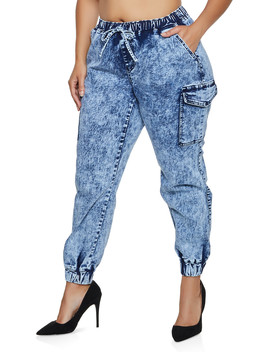 Plus Size Almost Famous Acid Wash Cargo Joggers by Rainbow