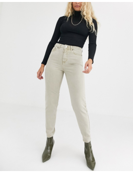 Topshop Mom Jeans In Sand by Topshop