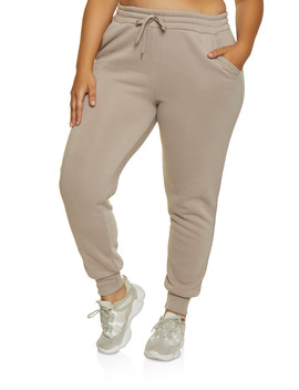 Plus Size Solid Fleece Lined Joggers by Rainbow