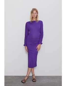 Mittellanges Kleid Mit Rafffung Mumdamen Cornershops by Zara