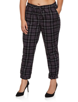Plus Size Plaid Joggers by Rainbow