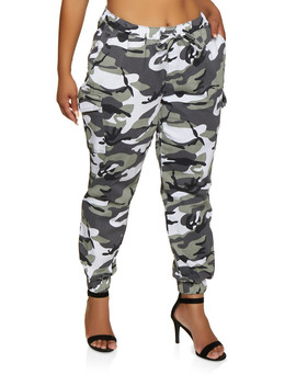 Plus Size Almost Famous Camo Cargo Joggers | 3870015991858 by Rainbow