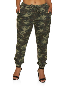 Plus Size Almost Famous Moto Camo Joggers by Rainbow