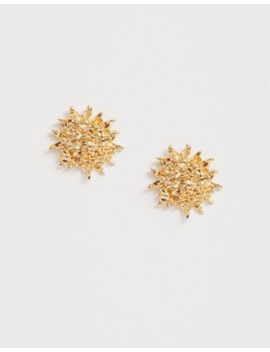 Asos Design Stud Earrings In Textured Sun Design In Gold Tone by Asos Design