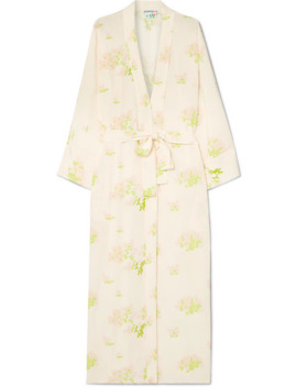 Peignoir Belted Printed Silk Crepe De Chine Wrap Dress by Bernadette