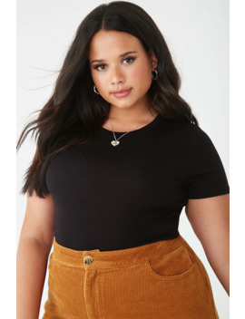 Plus Size Ribbed Crew Neck Tee by Forever 21