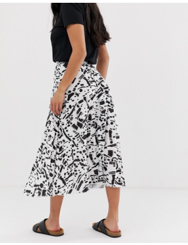 Asos Design Petite Pleated Midi Skirt In Mono Abstract Print by Asos Design