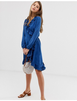 Qed London Denim Frill Front Dress In Mid Wash Blue by Asos