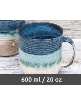 Große Handgefertigte Keramik Kaffeebecher, Blau & Beige – Made To Order – Handwerker, Extra Große Kaffee Keramik Becher. Original Bierstein. Hygge Becher! by Etsy