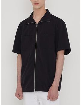 Zip Up Outer Shirt Black by Lieu Homme
