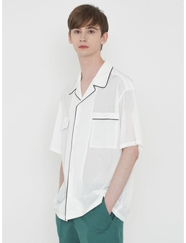 Piping Open Collar Shirt Ivory by Lieu Homme