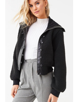 Faux Shearling & Leather Jacket by Forever 21