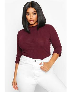 Plus High Neck Ribbed Top by Boohoo