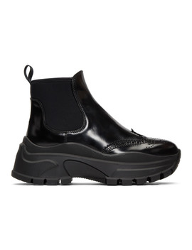 Black Chunky Sole Chelsea Boots by Prada