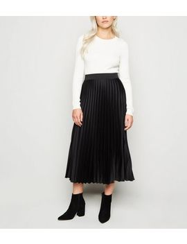 Petite Black Satin Pleated Midi Skirt by New Look