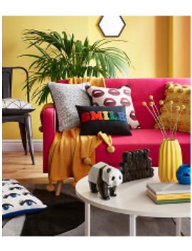 Pink Geo Foil Cushion by Asda